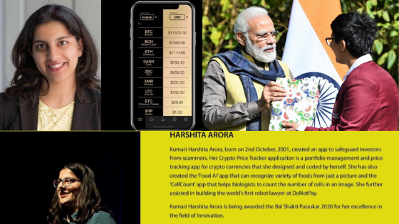 Prime Minister of India awards Harshita Arora for her Cryptocurrency App